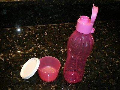 New Tupperware Small Eco Bottle 16 oz, & 4 oz Snack Cup with Lid, Punch Pink