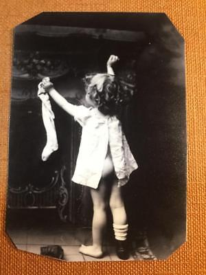 Little Girl hanging her Christmas Stocking on Christmas Eve tintype C602RP