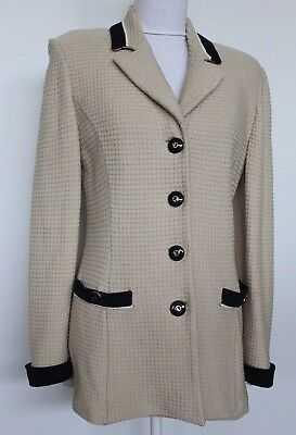 ST JOHN COLLECTION by Marie Gray Blazer Jacket Beige Navy Size 8