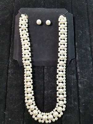 White Faux Pearl Choker Necklace  & Earring Set Signed SHB - Shofel Bros.
