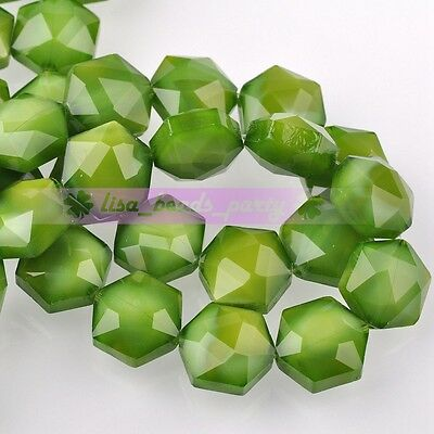 5pcs 14mm Hexagon Shape Faceted Glass Loose Spacer Beads Porcelain Green