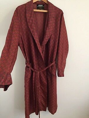 Vtg St Michael 1960s Mens Tricel Dressing Gown Smoking Jacket Dark Red Large