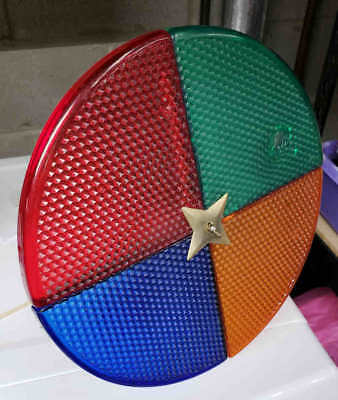 Vintage Rotating Color Wheel Light Silver Christmas Tree Spins But