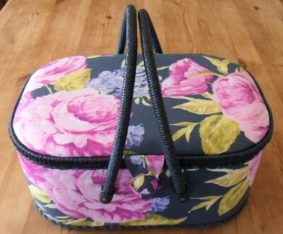 *SALE* SEWING BOX extra Large Floral fabric basket wicker handles VINTAGE DESIGN