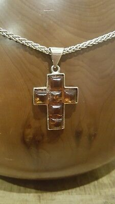 Thick Sterling Silver Chain With Baltic Amber Cross Pendant Natural Healing