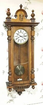 Exceptional Condition Original Vintage Large Vienna style Walnut Wall Clock