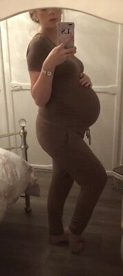 Sam Faiers Maternity Taupe Drawstring Jumpsuit - Size S (10-12)