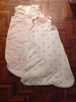 2x Baby Sleeping Bags 0-6 Months M&S And Mothercare 2.2 Tog 2.5 Tog