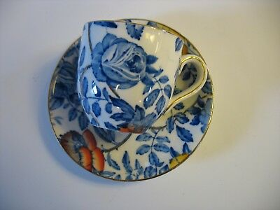 English Peony and Rose Demitasse Cup and Saucer by Myott, Son & Co Blue floral