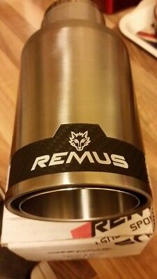 """REMUS Street Race Carbon 98mm Exhaust Tail pipe Trim Muffler Tip Stainless """"NEW"""""""