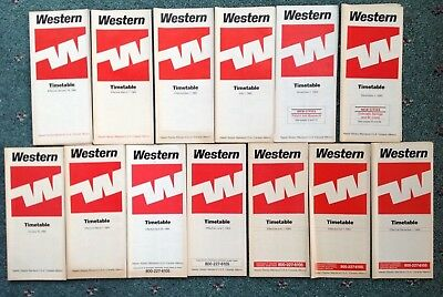 1983-1984 (13) WESTERN AIRLINES TIMETABLES Boeing 737