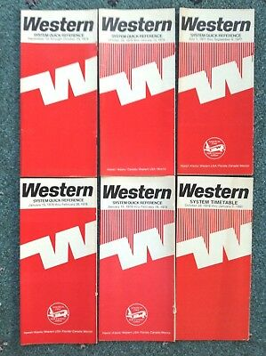 1975-1980 (6) WESTERN AIRLINES TIMETABLES Quick QUICK System Quick