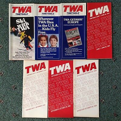 1983 (7) TWA Trans World Airlines TIMETABLES