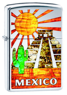 Zippo Custom Lighter Mexico Ruins Fusion High Polish Chrome New in Box Gift Dad