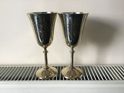 Vintage Silver Plated Goblets..set Of Two