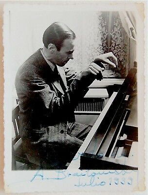 1939 Russian PIANIST BRAILOWSKY Hand SIGNED ACTION PHOTO Autograph SP CHOPIN