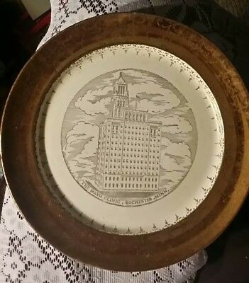 Vintage The Mayo Clinic Plummer Building Rochester MN Souvenir Plate 22K gold