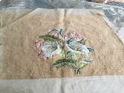 Antique vintage hand done needlepoint with lilies and bleeding heart flowers