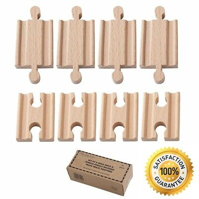 Pack of 8 Wooden Train Track Adapters Solid Beac Wood Building Blocks