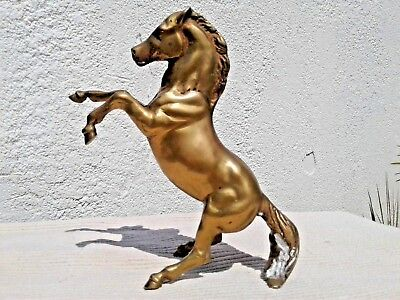 Antique Vintage Solid Heavy Brass Rearing Horse