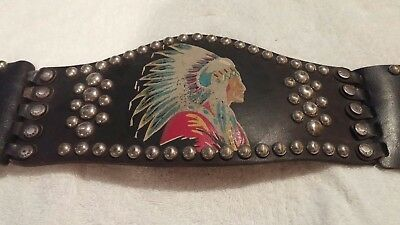 Rare!  Vintage 1930s ?40s? Indian Motorcycle Kidney Belt Studded Hand Painted