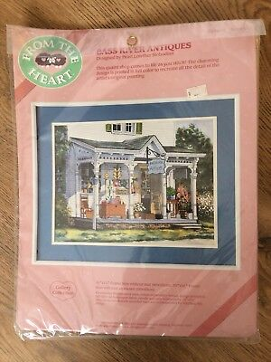 Bass River Antiques Embroidery Set New Sealed From The Heart 80's Crewel 51019