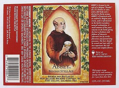 New Belgium ABBEY - BELGIAN STYLE ALE beer label CO 12oz -Copr 1991  Var. #3