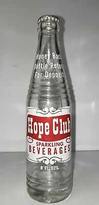 Vintage Soda Pop Beverage Bottle - Hope Club 8 oz Cranston, RI