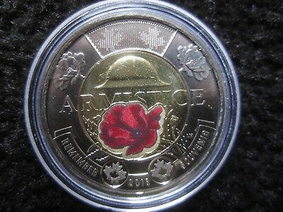 1918-2018 $2 COLOURED Toonie from RCM roll  2018 Canada Armistice Centennial