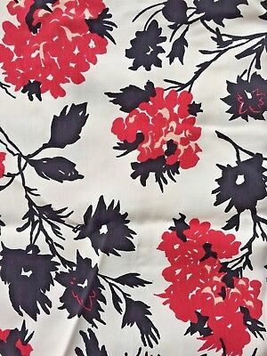 Vintage 1940's RAYON Silky FABRIC, never used  Black & Red pattern  Art DECO