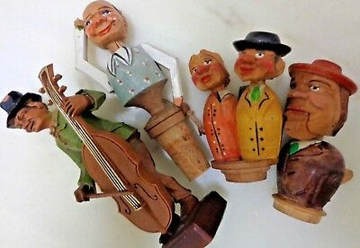 LOT 4 Vintage hand-carved German bottle openers/stopper,Figure Great condition