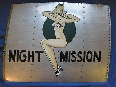 Night Mission Replica Nose Art Painted On Real C-47 Aircraft Skin