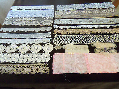 Pretty Antique Lace Trims and Sample Lace Pieces Lot of 18