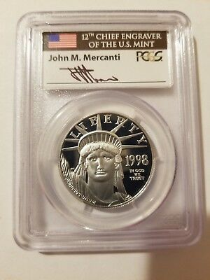 1998W Platinum Eagle Proof PCGS PR70DCAM $100 1oz Mercanti BV $6,500 HALF PRICE!