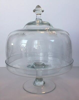 Rare Vintage Romania Mondial Etched Glass Dome Covered Cake Stand