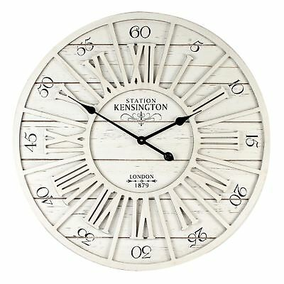 Vintage Style Kensington Station Round Wall Clock Cream MDF Cut Out Dial 70cm