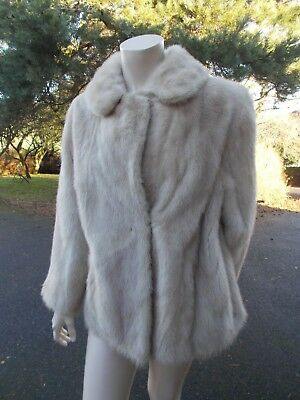 Vintage light grey/cream/beige mink fur jacket size 12-14