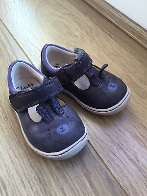 Clarks Infant Girl Leather Purple Bunny Rabbit First Shoes 💜 3.5G 3.5 G