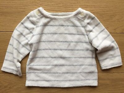 Baby Gap Boys White Striped Towelling Cotton Top 6-12 9 Month Winter 💙 Designer