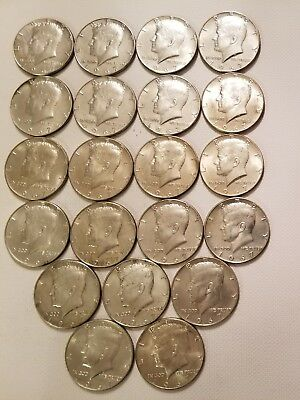 Kennedy silver half dollars  lot of 21 (40%silver) One each sale. All 1967