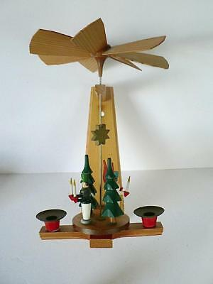"""12"""" Germany Wall Pyramid Soldier Angel Candle Holder  Erzgebirge Wood Christmas"""