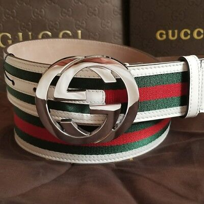 2661a808fee Authentic Men s Gucci Web Belt White Green Red Stripes ...