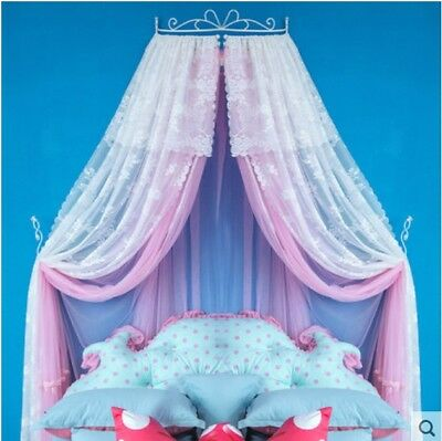 Queen Size Pink Lace Ceiling Mosquito Net Bedding Bed Curtain Netting Canopy