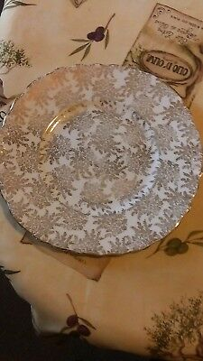royal vale.sandwhich plate.gold chintz