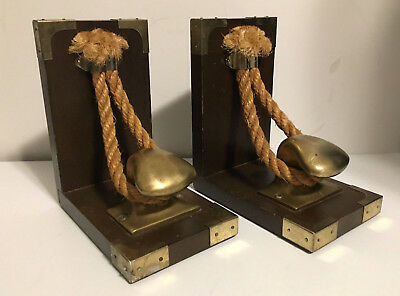 Rare! Nautical Boat Brass Cleat Dock Boating Bookends Rope Vintage Wood E