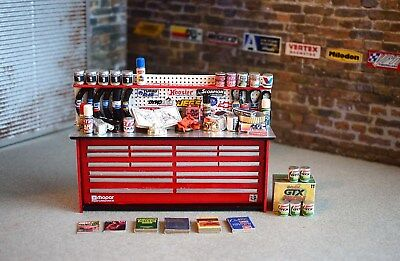 1/18 Automotive Shop Bench; Built; Garage, Diorama; Painted All parts included