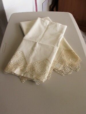 Vintage White Hand Embroidered/Crochet Pillowcases
