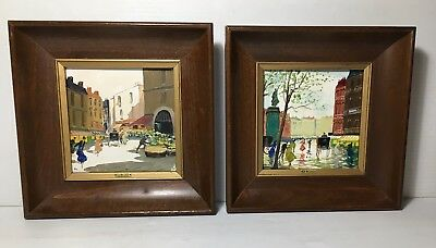2 Mid Century Charles Nicoise French Oil Paintings on Tile