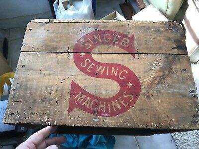 Antique Singer Sewing Machine Wooden Wood Shipping Crate Box