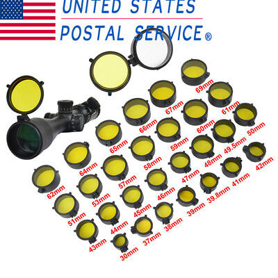 2pcs Outdoor Hunting Scope Cover Flip Up Yellow Cap Open Objective Lens Eye